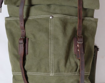 Green waxed canvas & genuine leather backpack / backpack with roll up / zaino canvas e pelle