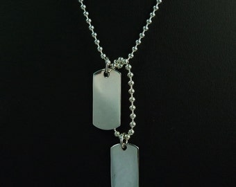 """Army Dog Tag 925 Sterling Silver Charm Pendant Necklace 24"""""""