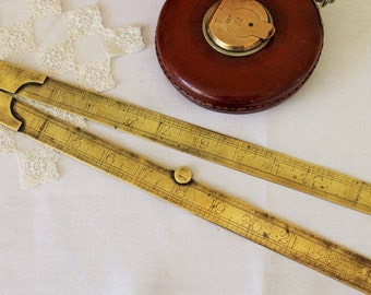 Vintage Brass Smallwood Ruler/Measure/DIY Tool/Tools/SALE