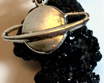 Space Themed Saturn Crystal Necklace