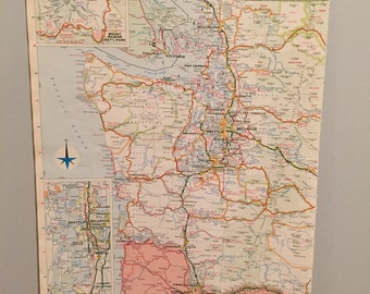 Vintage 1969 Map of Seattle