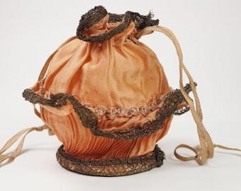 Antique Victorian Silk Purse Reticule Mirror Base Metal Lace Circa 1880