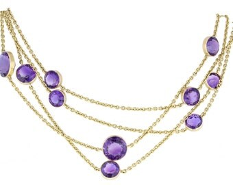Antique Amethyst Opera Length Chain