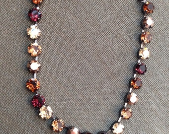 8.5mm Swarovski Crystal Necklace in Fall Colors