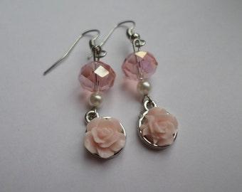 Pink Floral Rose Earrings