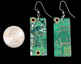 Upcycled Green Motherboard Earrings