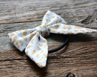 Gold and White Cheetah Print Hair Bow