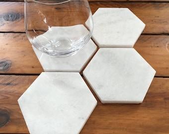 White Marble Hexagon Coasters (Set of 4)