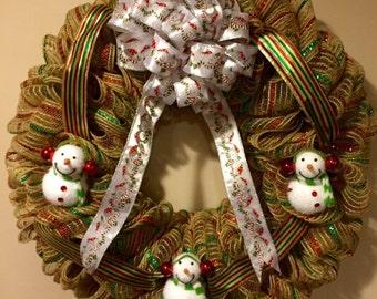 Tan Snowmen Deco Mesh and Ribbon Wreath