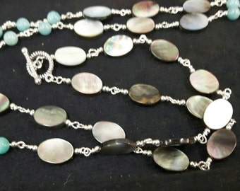 Sea blue agate with mother of pearl and Swarovski crystal necklace
