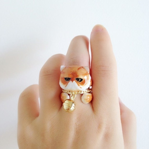 Orange Persian Cat with Bell 3 Piece Ring Set - Enamel ring, Animals Ring, Animals Jewelry,Stackable Ring, Trio Ring, Animal, Gift, Mary Lou