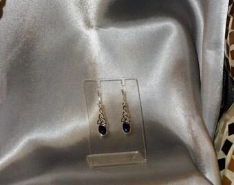 lapis lazuli gemstone earrings semi precious and Silver 925