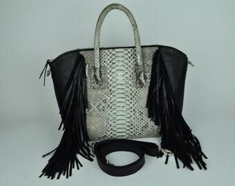 Genuine Exotic Python Tote/Handbag with Leather Fringe