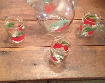 Antique tomato glass and pitcher set