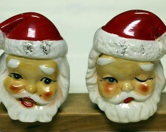 Vintage Santa Head Salt and Pepper, Made in Japan, Shelf Sitters, Circa 1950s