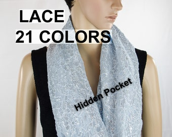 Infinity Scarf with Pocket, Hidden Pocket Scarf, Lace Scarf, Scarf with a Hidden Pocket
