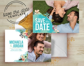Mint Floral Save the Date Card Template - Wedding Announcement Card Template - Floral Watercolor PSD - Photography Marketing Template