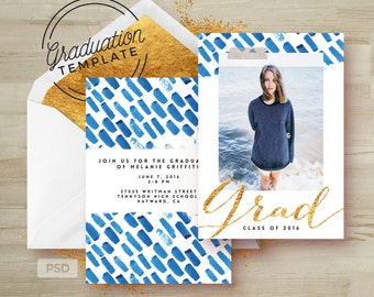 Blue Watercolor, Gold Graduation Invitation Photoshop Template - Printable Grad Announcement Card - Graduation template PSD -Photo Marketing