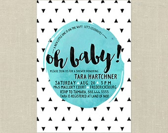 Modern Geometric Baby Shower Invitations with matching book request