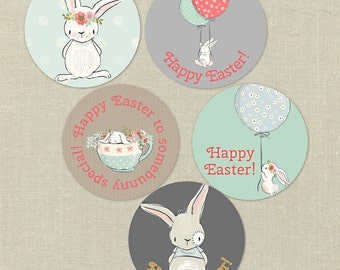 Printable Easter Tags--Instant Download, whimsical bunnies