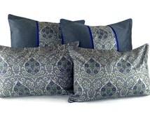 Throw Pillow Set, Bed Pillow Set, Pure Silk Pillows, Sofa pillow, Couch pillow set, Grey Pillow set, Designer pillow set, Luxury pillow
