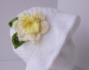 Crochet Summer hat, crochet sun hat, bonnet, panama/bucket/cloche/sun hat with daffodil- Made to order - child and adult sizes