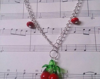 Rockabilly 50s Lampwork Glass Cherry Necklace Silver Plated.