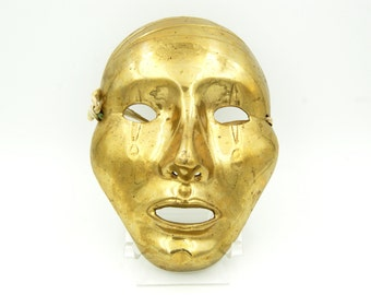 Solid Brass Mask, Brass Wall Hanging Decor, Mime Theater Theatrical Face Mask