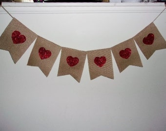 Burlap and Heart Banner, Heart Party Decoration, Hearts Banner, Happy Birthday, Baby Shower Bridal Shower, Anniversary, Wedding