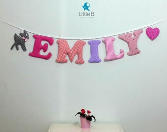 Emily name banner,Nursery wall letters, girl nursery letters, Wall hanging fabric letters, , baby girl gift, personalized name banner