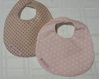 Two Baby Bibs Spots with resin snaps and towelling backing
