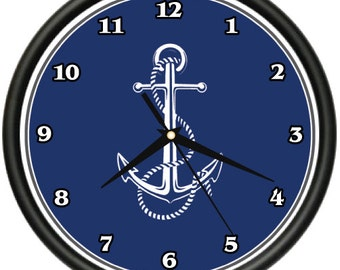 ANCHOR Wall Clock boater boating theme captain yacht first mate gift