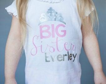 Big Sister Princess shirt - New Sibling Shirt - New Baby shirt - New Big Sister shirt - Personalized big sister shirt - New Sibling Gift