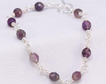 Genuine Amethyst Wire-wrapped Bracelet