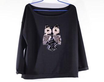 Wide Shoulder Girly Sweatshirt by BoomDaisy- wide neck- slouchy Sweater sweatshirt- black handmade sweatshirt- gold owl embroidered