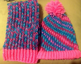 Girl knit hat and scarf