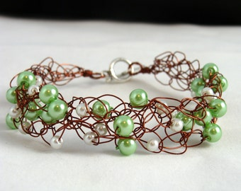 Green and White Pearl Brown Wire Crocheted Bracelet
