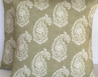 "2 x 16"" (40cm x 40cm) Clarke & Clarke Harriet paisley print sage green White cushion covers"