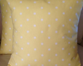 2 x Clarke & Clarke dotty spot yellow white cushion covers