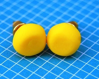 Bright Yellow Stud Earrings