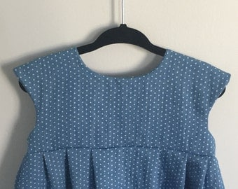 Demin Polka Dot Cotton Dress (Scoop Neckline)
