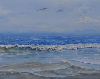 The sea, the shore with two seagulls flying. Seascape. Oil painting on canvas of flax fine grain. Original and unique.