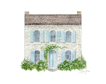 Watercolor House Portrait (Custom Painting)   Father's Day Gift   Anniversary Gift   Housewarming Gift