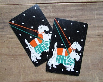Two Dog Cards Vintage Scottie Dog Swap Cards