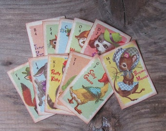 Replica Animal Rummy Cards Mini Reproduction Children's Game Cards
