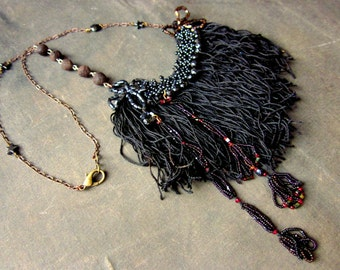 Handmade Victorian Gothic Assemblage Necklace with Vintage Black Fringe and Antique Beadwork - Gothic Statement Necklace