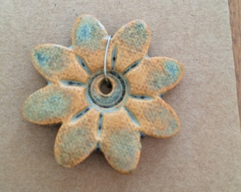 Pendant Bead Necklace, Orange Flower, Flower, Stoneware Ceramic Clay, #478