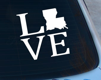 Love Louisiana Decal - State Decal - Home Decal - LA Sticker - Love - Laptop - Macbook - Car Decal