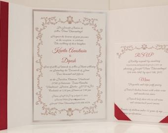 Burgundy Wedding Invitation, Silver Foil Wedding Invitation, Foil Wedding Invitation, Silver Foil Wedding Invitations, Scarlet Invitation