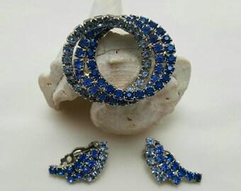 Blue Circle Pin & earrings Set